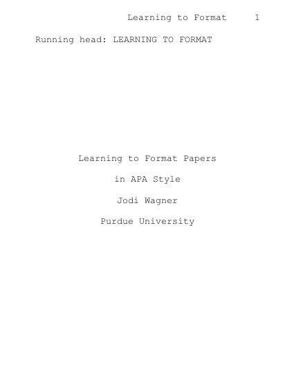 apa format paper example
