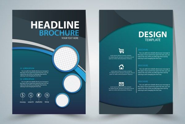 Brochure template design with green elegant style Free vector in ...