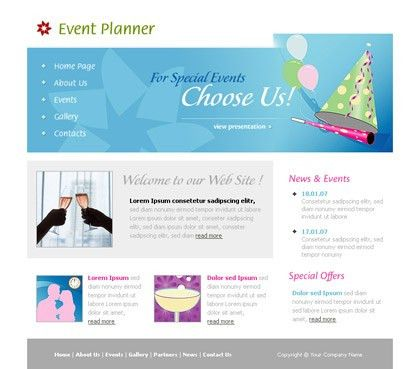 Free website template 133 about Event planner, special,