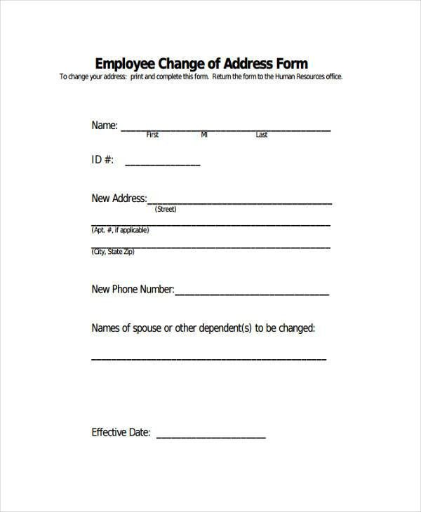 Free Change Forms