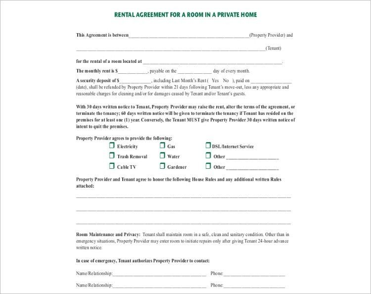 Rental Contract Template. Room Rental Agreement Templates Word ...
