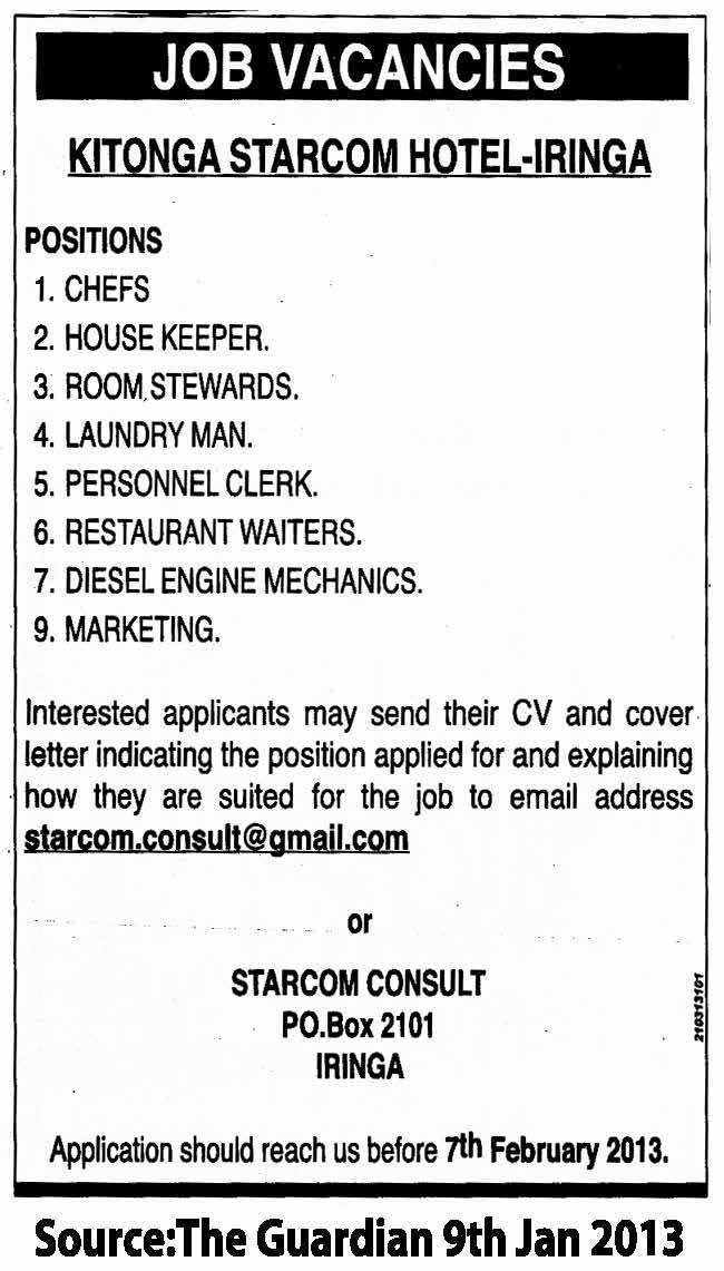 Chefs, House Keepers, Room Stewards, Laundry Man, Personel Clerk ...