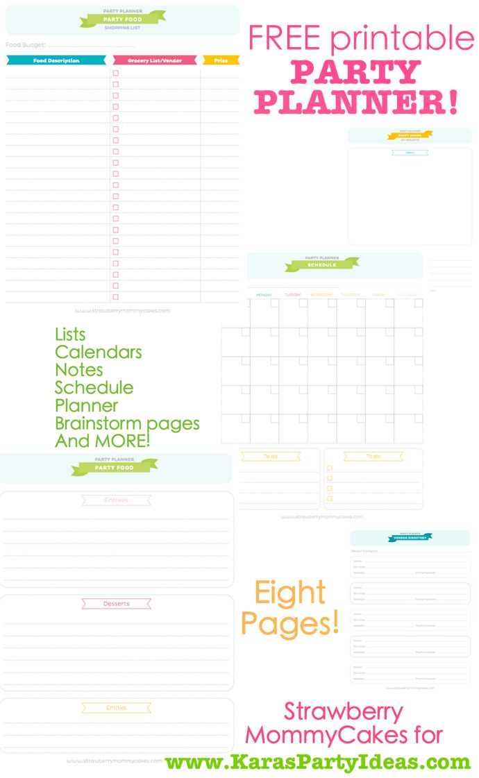 FREE printable PARTY PLANNER ~ This website is AWESOME, it has the ...