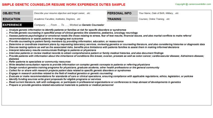 Genetic Counselor Resume Sample