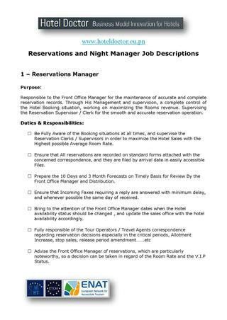 Hotel Reservations and Night Manager Job Description by Daniel ...