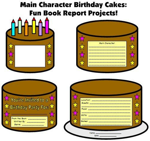 Birthday Cake Book Report Project: templates, worksheets, rubric ...