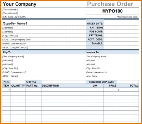 7+ free purchase order template | Job Resumes Word
