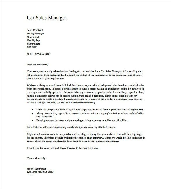 12+ Sales Cover Letter Templates – Free Sample, Example, Format ...