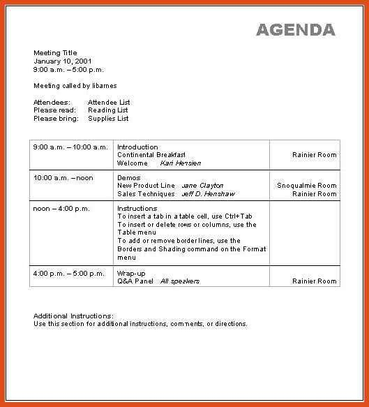 Training Agenda Template. Trainers Advice Training Schedule ...