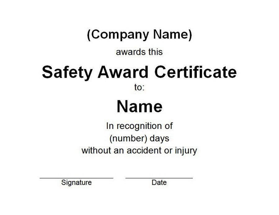 Safety Award Certificate | Free Templates Customizable Wording