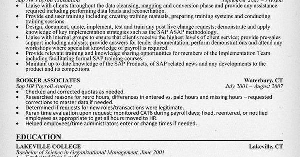 SAP HR #Payroll Consultant Resume Sample (resumecompanion.com ...