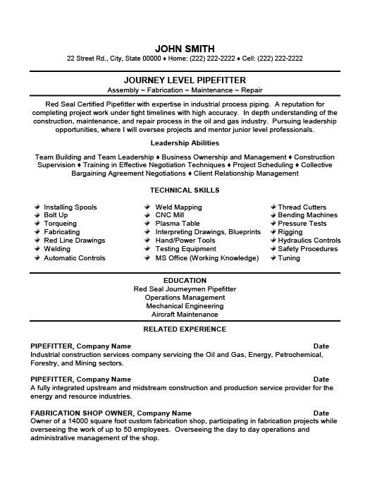 Pipefitter Resume Samples | free excel templates