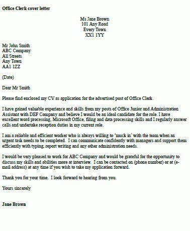 Cover Letter For Office Clerk] Office Clerk Cover Letter Samples