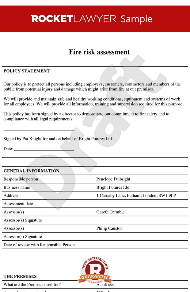 Risk Assessment - Fire Risk Assessment Template