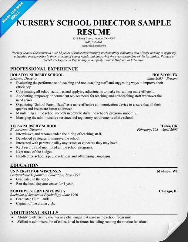 nursery school director resume teacher resume sample page 1