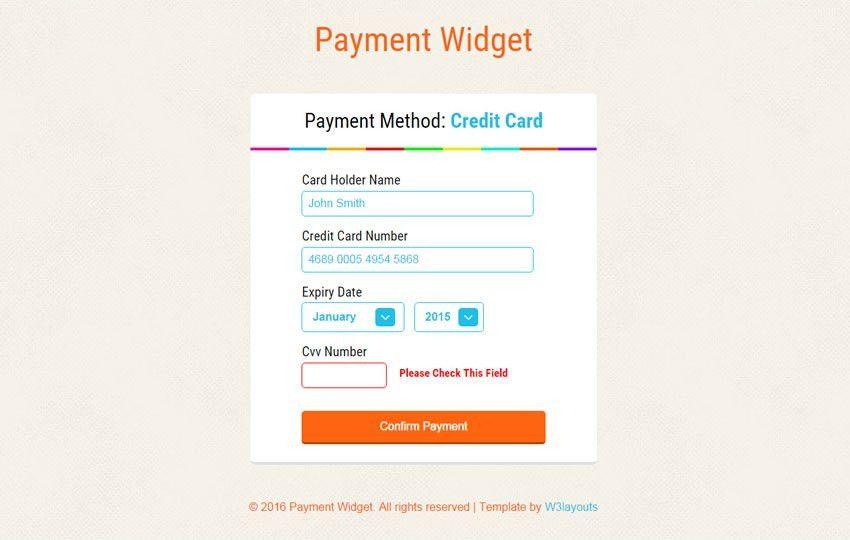 Payment Widget Form Responsive Template - w3layouts.com