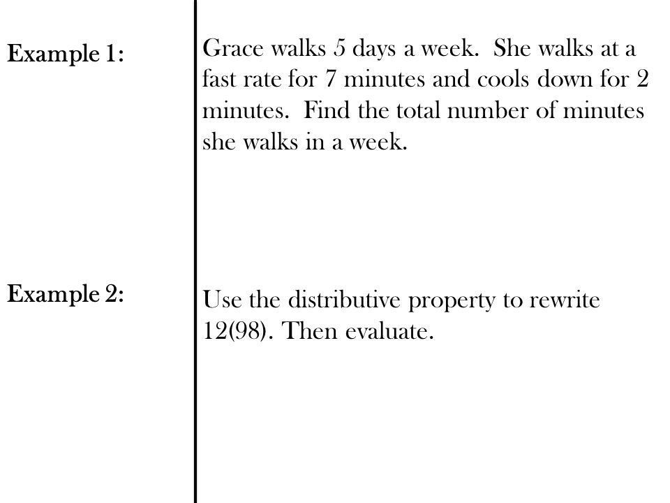 1.5 Distributive Property Objective: Use the distributive property ...