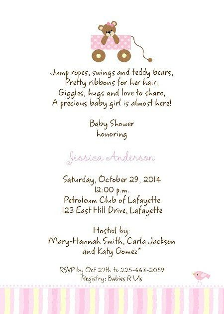 baby shower invitation verbiage baby girl shower invitations ...