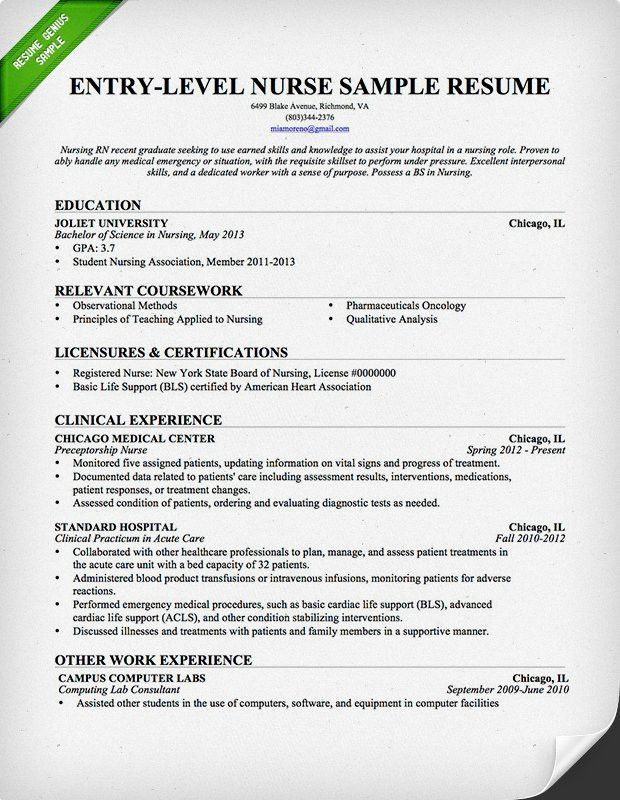 Resume Templates Rn 18 Sample Registered Nurse Resume Examples In ...