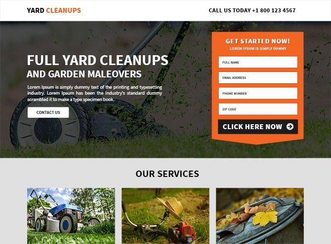 Yard Cleaning Services Landing Page Design Increase leads of your ...