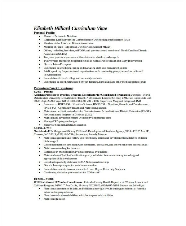 Dietitian Resume | The Best Resume