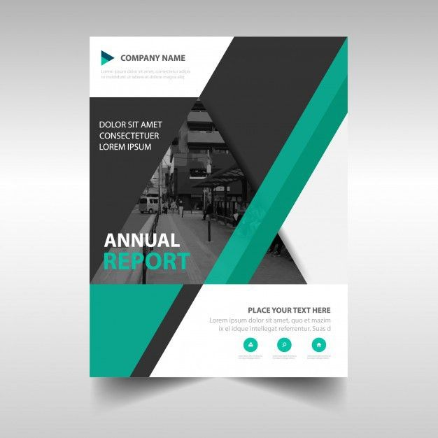 Green book cover template for annual report Vector | Free Download