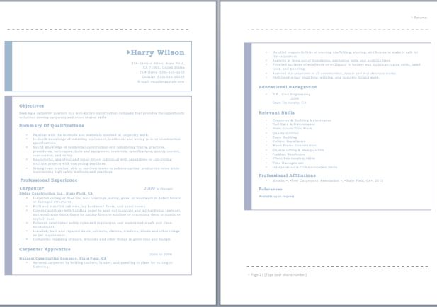 Carpenters Resume Template. construction resume examples of ...