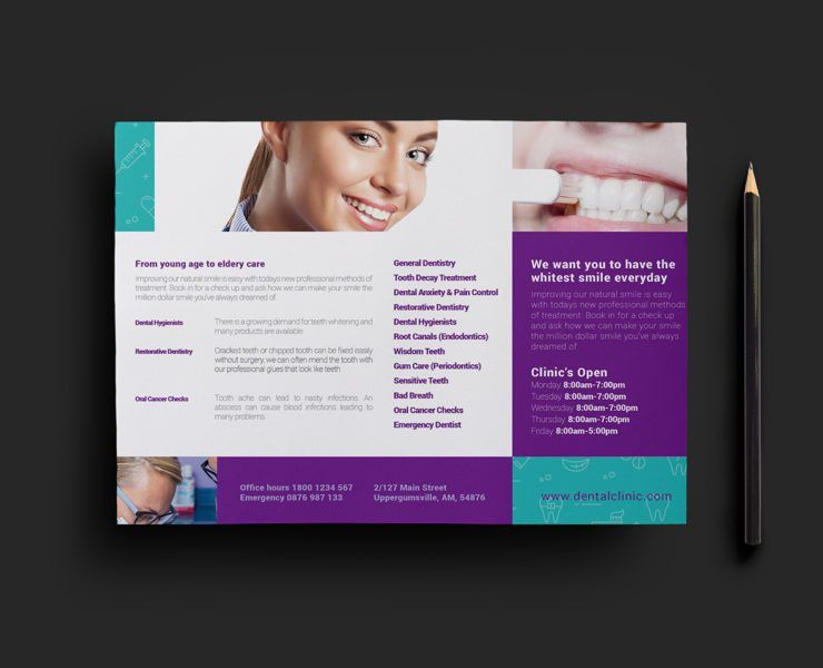Dental Clinic Trifold Brochure Template for Photoshop & Illustrator