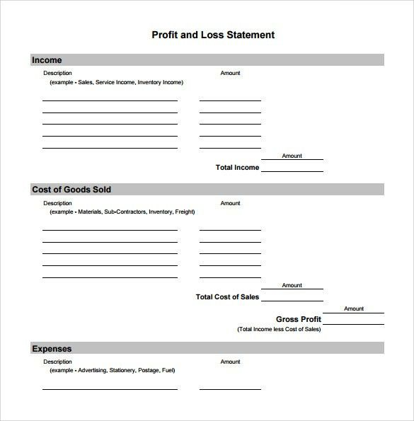 Free Monthly Profit and Loss Template Worksheet Statement Form ...