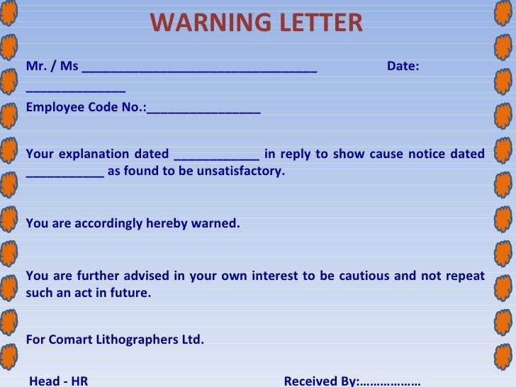 Sample of Employee Warning Letter Template – Project Management ...