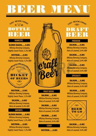 Beer Menu Placemat Food Restaurant Brochure; Template Design ...