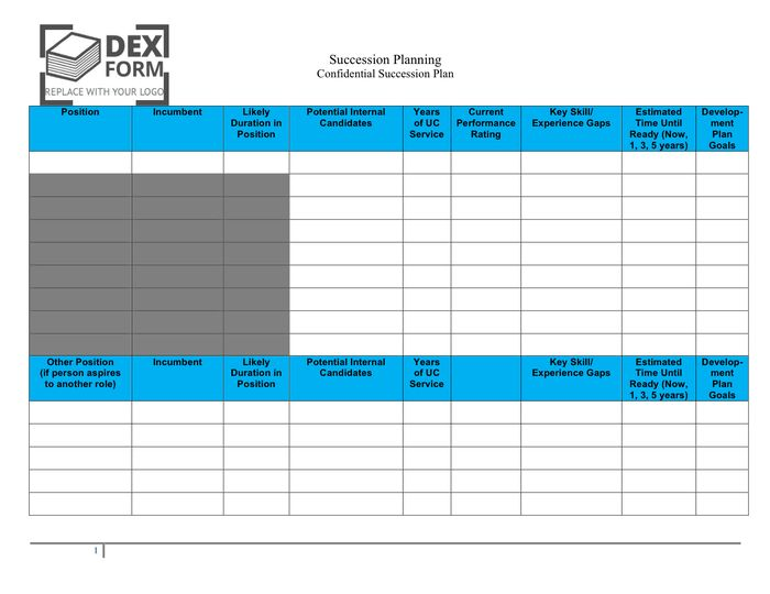 Succession planning template in Word and Pdf formats