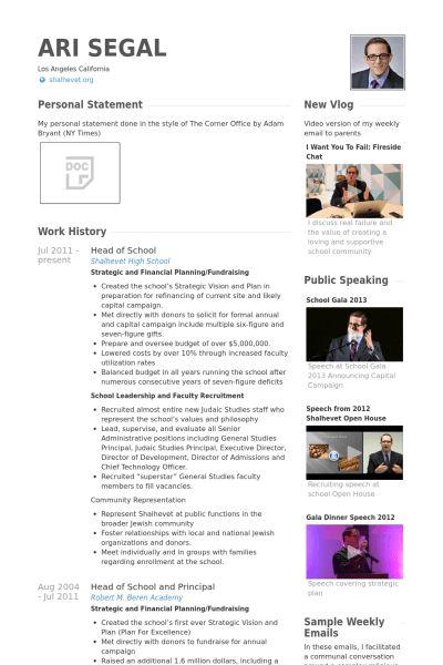 Head Of School Resume samples - VisualCV resume samples database