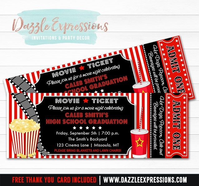 Printable Movie Ticket Graduation Party Invitation - 8th Grade ...