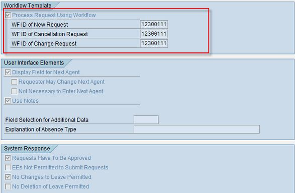 """Standard """"workflow ID """"template for Leave Request in ESS"""