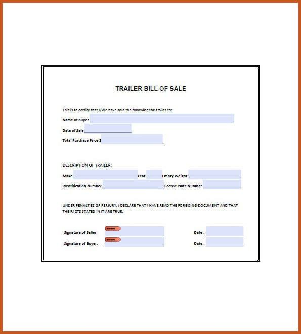 bill of sale for trailer | sop example