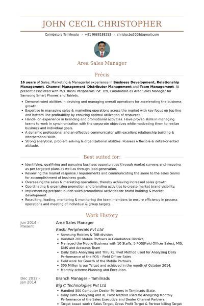 Area Sales Manager CV Örneği - VisualCV Özgeçmiş Örnekleri Veritabanı