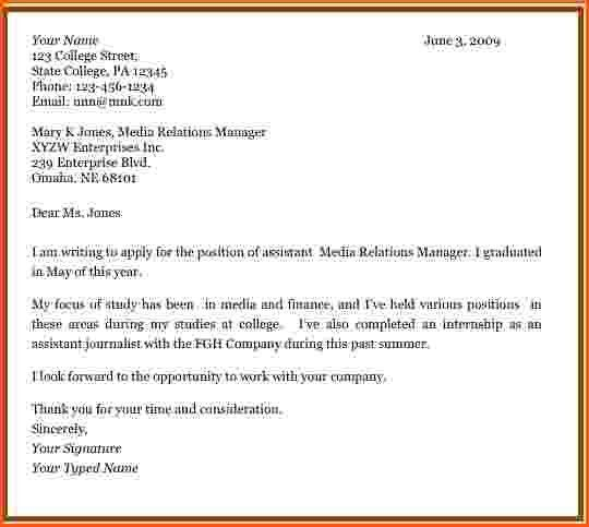 Attractive Inspiration Cover Letter Examples For Students With No ...