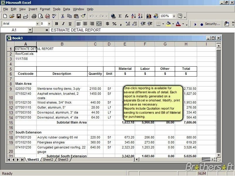 Roof Cost Estimator for Excel 2.0 | Cost Estimator Sheet
