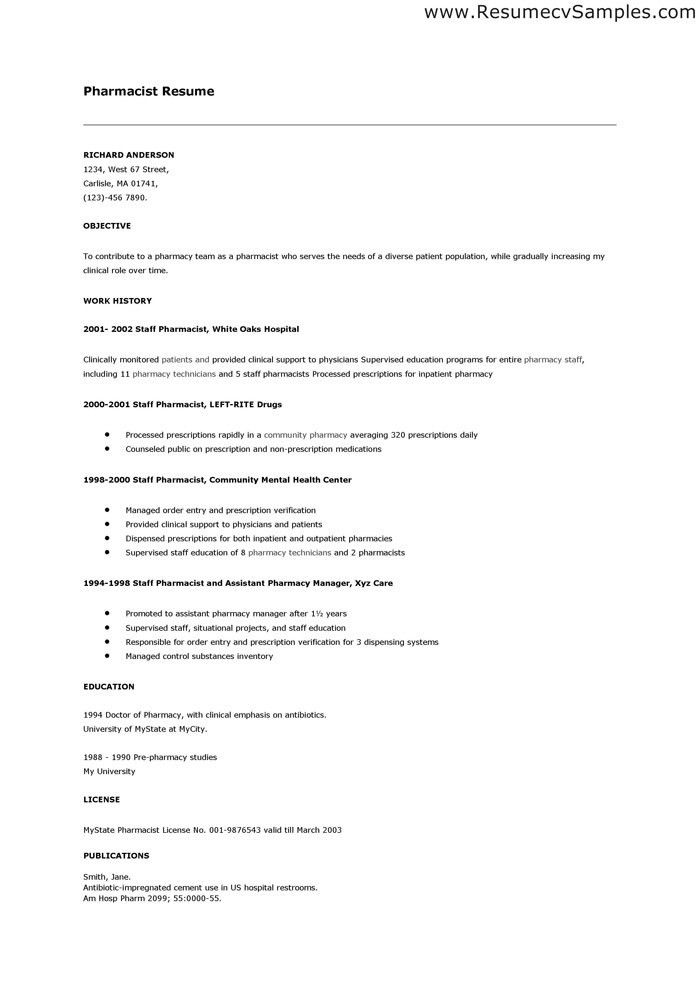 Brilliant Pharmacist Resume Template and Samples For Job ...