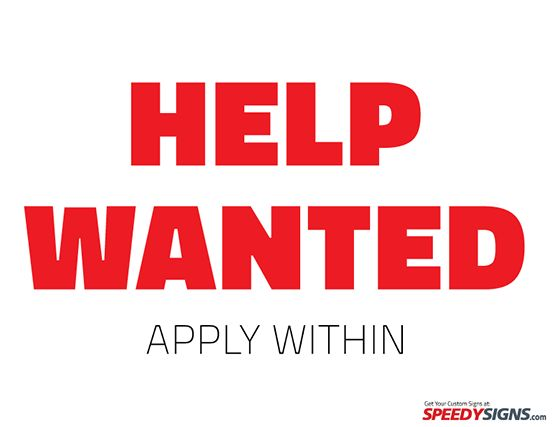 Free Help Wanted Apply Within Printable Sign Template | Free ...
