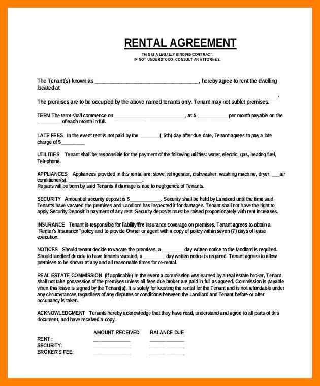 4+ simple rental agreement format | simple cv formate