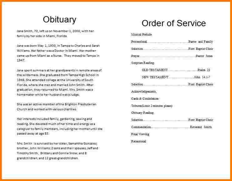 2 template for obituary | Receipt Templates