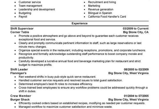 supervisor resume sample shift supervisor food and restaurant ...