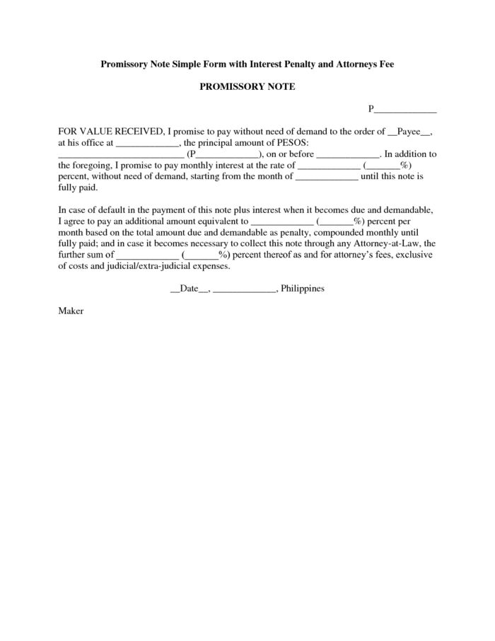 Promissory Note Letter Template With Penalty And Attorney Fee ...