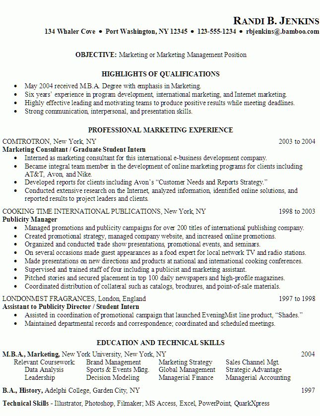 resume examples resume objective examples good general marketing ...