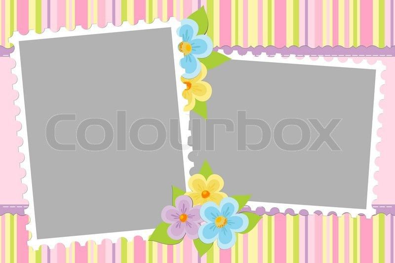 Blank template for baby's greetings card or photo frame in pink ...