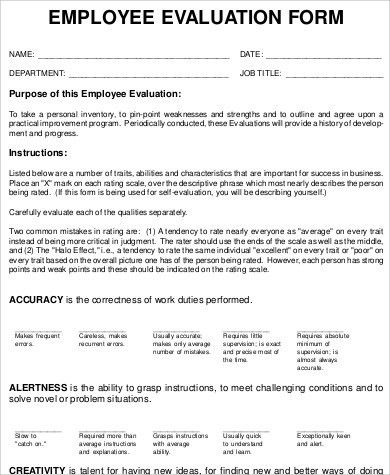 9+ Sample Performance Evaluation Form - Free Sample, Example ...