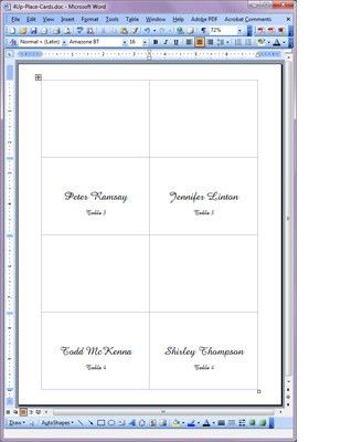 fold over place card templates