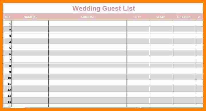 11+ wedding guest list printable template | job resumed